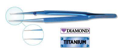 Diamond Coated Titanium Micro Tweezer, Straight, Smooth